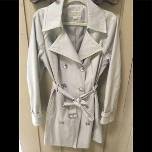 Michael Kors Faux Leather Trim Trench Coat